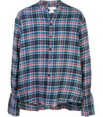 greg lauren frayed check shirt - blue