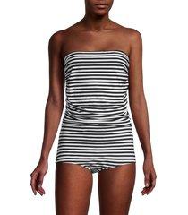 dolce & gabbana women's striped strapless one-piece swimsuit - black white - size 4 (l)