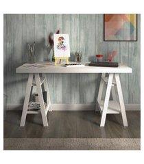 mesa escrivaninha artany art home office 4 prateleiras branca