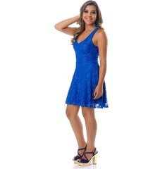 vestido b'bonnie curto em renda karina azul royal