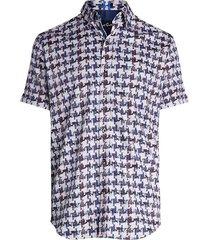 robert graham men's mckinny printed short-sleeve shirt - blue multi - size s