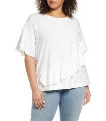plus size women's single thread textured dot top, size 2x - white