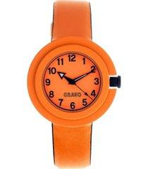 crayo unisex equinox orange, navy leatherette strap watch 40mm