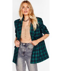 womens we're just checkin' oversized shoulder pad blazer - emerald
