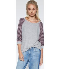 tino raglan pullover - s heather grey navy stripe