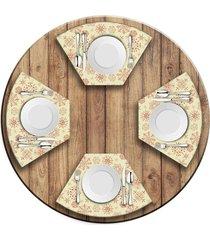 jogo americano   para mesa redonda wevans flocos de neve  love decor