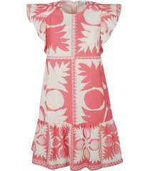 red valentino rear zip printed short dress