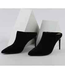 sapato feminino vizzano em suede salto alto fino preto