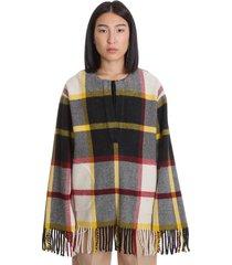 jil sander cape in multicolor wool