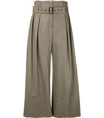 eudon choi belted flared leg trousers - grey
