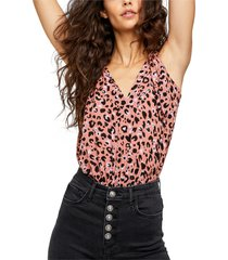 women's free people bare it all tank bodysuit, size large - pink