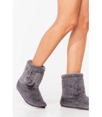 womens warm up faux fur pom pom slippers - grey
