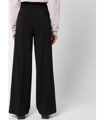 ganni women's melange suiting trousers - black - eu 40/ uk 12