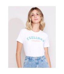 "camiseta feminina fellings"" manga curta decote redondo off white"""