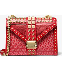 mk borsa a spalla whitney grande convertibile in pelle decorata con stelle e logo - rosso brillante (rosso) - michael kors