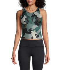 jessica simpson women's honey camo cropped tank top - abyss cloud - size l