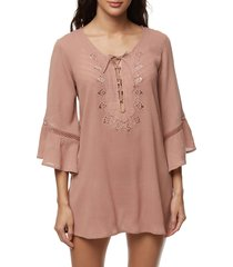 women's o'neill saltwater solids tunic cover-up, size x-small - brown