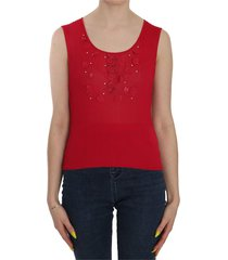 sleeveless beaded floral top