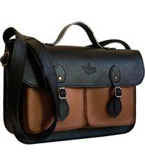 bolsa line store leather satchel pockets média couro premium bicolor preto x marrom