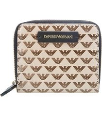 emporio armani monogram small beige brown wallet