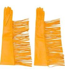manokhi textured fringed edge gloves - yellow