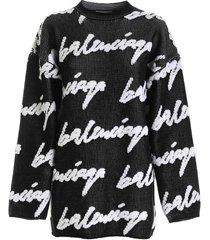 balenciaga balenciaga white/black cotton sweatshirt