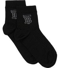 burberry monogram intarsia-knit socks - black