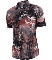 high low landscape print short sleeves shirt
