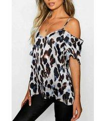 blusa blanca sin espalda diseño leopard cold shoulder manga corta blusa