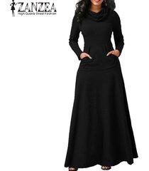 zanzea vestido de noche para fiesta de noche bolsillos de manga larga con lazo vestido largo liso -negro