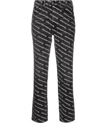 alexander wang mid-rise logo-print flared trousers - black