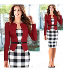 new fashion women work wear long sleeve patchwork plaid peplum dress with belt