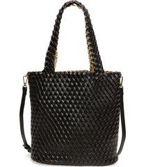 mali + lili ray reversible & convertible woven vegan leather tote - black