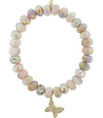 butterfly charm pink opal bracelet