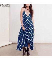 Zanzea Vestido Halter De Las Mujeres Profunda Caída V Sundress Maxi Largo Del Partido Del Club De Playa Azul