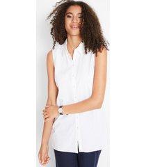 mouwloze blousetop van linnen