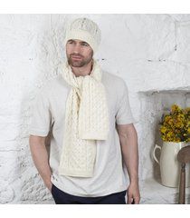 honeycomb aran hat & scarf set cream