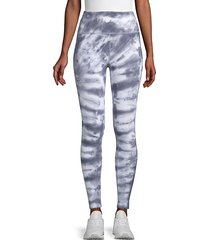 tie-dyed stretch-cotton leggings