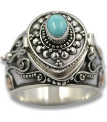sterling silver 14k gold turquoise poison pill box locket ring