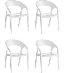 conjunto 4 cadeiras glass plus branco kappesberg - branco - dafiti