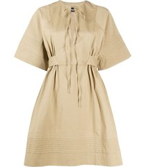 dsquared2 micro-pleated a-line safari dress - neutrals
