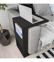 mesa de apoio book com suporte preto - líder design