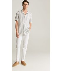 gestreept regular-fit overhemd van 100% linnen