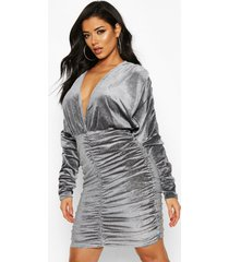 sparkle velvet knot front rouche dress, grey