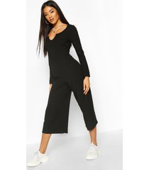 notch front ribbed culotte jumpsuit, black