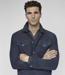 reiss jagger - suede trucker jacket in steel blue, mens, size xxl