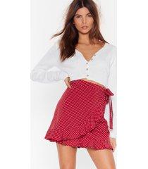 womens dot your back wrap skirt - burgundy