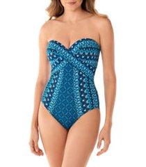 women's miraclesuit mosaica seville bandeau one-piece swimsuit, size 16 - blue