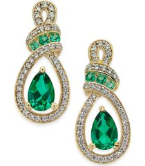 certified ruby (1-1/3 ct. t.w.) and diamond (1/4 ct. t.w.) drop earrings in 14k yellow gold (also available in emerald)