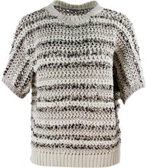 brunello cucinelli short-sleeved crewneck sweater with sequin application
